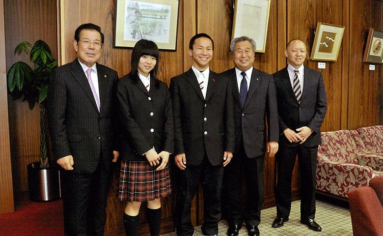 2014年4月_空道部メンバーが市長訪問